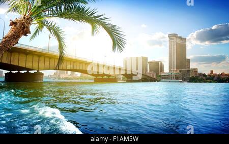 Bridge on the Nile dividing Cairo and Giza - Stock Photo