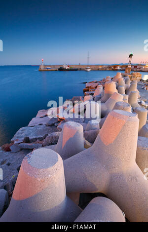 Breakwater in Mikrolimano marina in Athens, Greece. - Stock Photo