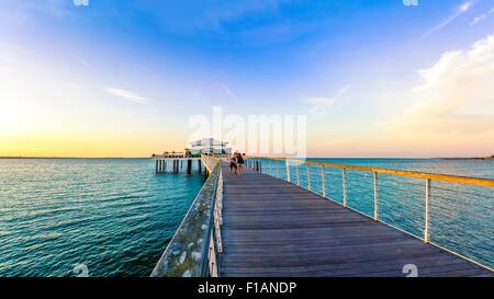 Germany, Niendorf, view to sea bridge with tea house - Stock Photo