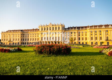 castle schönbrunn, vienna, austria on a summer evening - Stock Photo