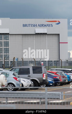 British Airways (BA) aircraft hangar near Cardiff Airport in Cardiff, South Wales. - Stock Photo