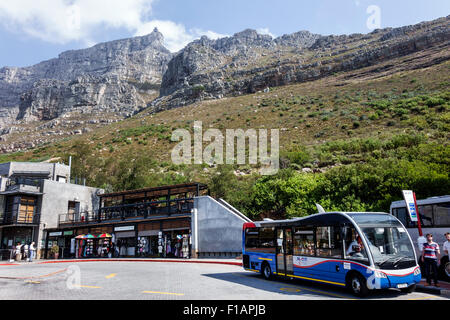 Cape Town South Africa African Table Mountain National Park Tafelberg Road Aerial Cable car Cableway Tramway lower - Stock Photo