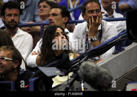New York, USA. 31st Aug, 2015. Maria Francisca Perello, the girlfriend of Spanish tennis player Rafael Nadal, watches his first round match against Borna Coric of Croatia on Monday evening, August 31st, at the U.S. Open in Flushing Meadows, Credit:  Adam Stoltman/Alamy Live News
