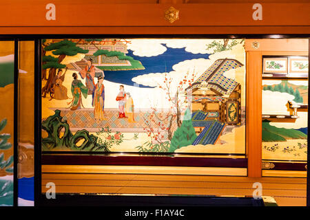 Japan, Kumamoto castle, Goten Palace, reconstructed Honmarugoten, Shokun-no-ma room, painted screens - Stock Photo