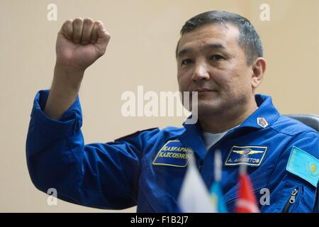 Baikonur, Kazakhstan. 1st Sep, 2015. ISS Expedition 45/46 main crew member, Kazakh cosmonaut Aidyn Aimbetov during - Stock Photo