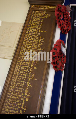 The names of Welshmen who served in the First World War, in the village hall of Tregaron. - Stock Photo