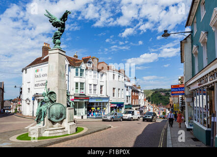 The High Street at the junction with Market Street in the town centre, Lewes, East Sussex England, UK - Stock Photo