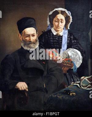 Portrait of Mr. and Mrs. Auguste Manet.Monsieur et Madame Auguste Manet 1860.Edouard Manet  1832-1883 - Stock Photo