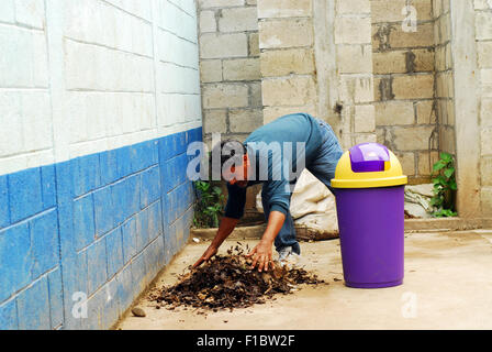 Guatemala, Concepcion las Minas, teacher recollecting trash (Leonidas Pinto Murcia, 54 years) - Stock Photo
