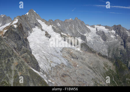 TRIPOINT: FRANCE, ITALY, SWITZERLAND MEET AT MONT DOLENT SUMMIT (aerial view). Swiss side of the mountain, Mont - Stock Photo