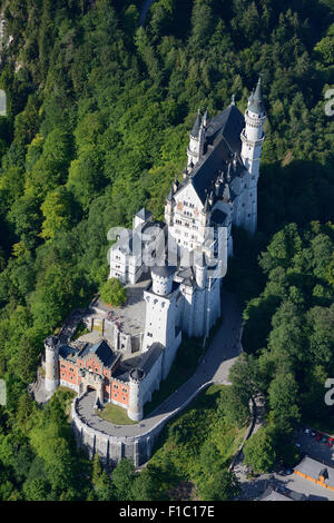 NEUSCHWANSTEIN CASTLE (aerial view). Füssen, Bavaria, Germany. - Stock Photo