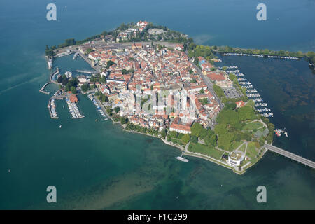 LINDAU ISLAND (aerial view). Lake Constance, Bavaria, Germany. - Stock Photo