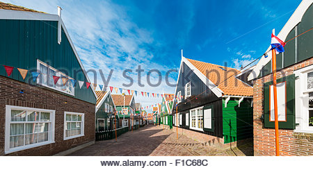 Traditional wooden houses in Marken, North Holland, Netherlands - Stock Photo