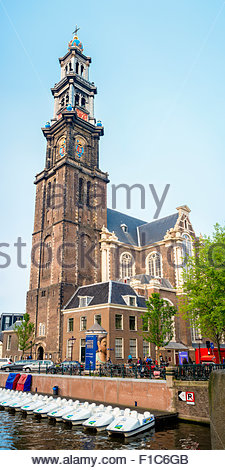 Westerkerk church on Prinsengracht canal, Amsterdam, North Holland, Netherlands - Stock Photo