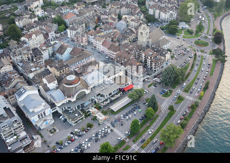 CASINO OF ÉVIAN-LES-BAINS (aerial view). Spa town on the southern shore of Lake Geneva, Haute-Savoie, Rhône-Alpes, - Stock Photo