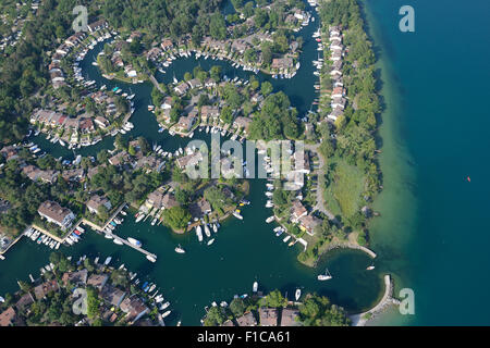 PORT RIPAILLE (aerial view). A marina on the southern shore of Lake Geneva, in the city of Thonon-les-Bains, France. - Stock Photo