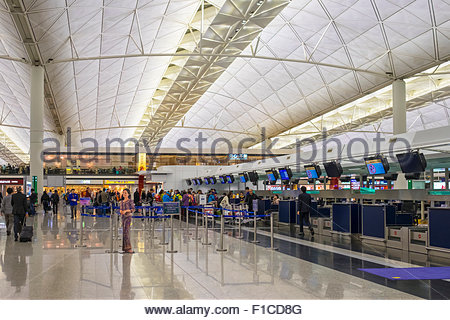 Departures hall at Hong Kong International Airport, Chek Lap Kok, New Territories, Hong Kong, China - Stock Photo