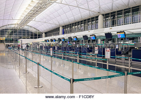 Empty departures area at Hong Kong International Airport, Chek Lap Kok, New Territories, Hong Kong, China - Stock Photo
