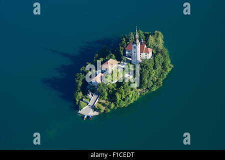BLED ISLAND (aerial view). Lake Bled, Upper Carniola, Slovenia. - Stock Photo