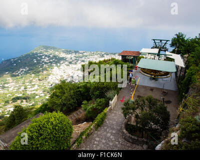 View from the chair lift station at the top of Mount Solaro in Capri Italy - Stock Photo