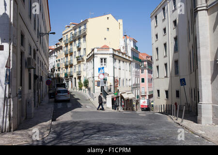 Houses in the Bairro Alto district in Lisbon, Portugal. - Stock Photo