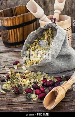 bag of harvest of dried hop cones in  rustic style on wooden background - Stock Photo