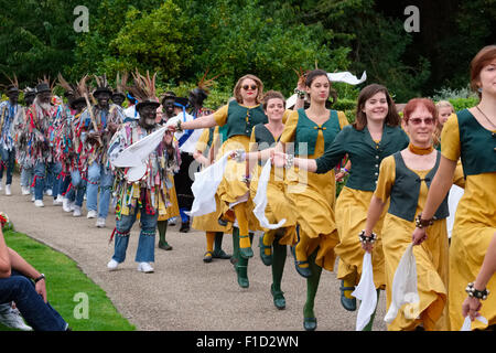 Martha Rhoden's Tuppenny Dish and Shropshire Bedlams dancing in the castle grounds during Shrewsbury Folk Festival, - Stock Photo