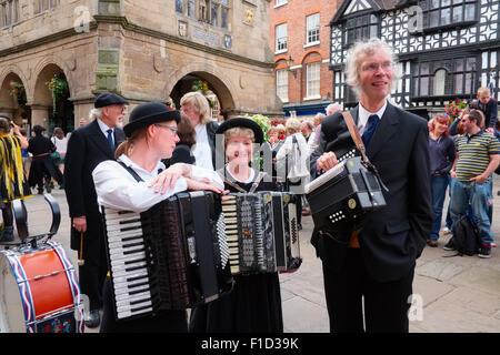 Musicians of the Rumworth Morris of Bolton at Shrewsbury Folk Festival, Shropshire, England. - Stock Photo