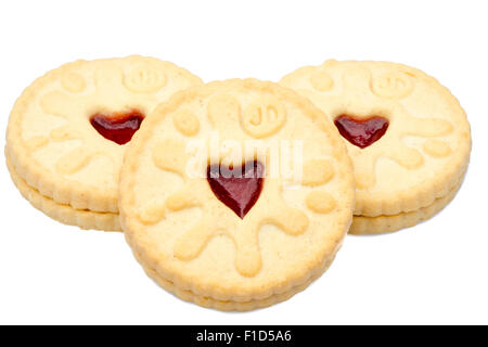 Jammie Dodger biscuits cut out or isolated on a white background, UK. - Stock Photo