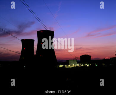 Twilight and the cooling towers of Three Mile Island nuclear power plant Unit 2, closed since 1979 after a fire - Stock Photo