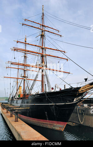 RRS Discovery famous by Robert Falcon Scott who explored Antarctica is now a museum at Discovery Point, Dundee, - Stock Photo