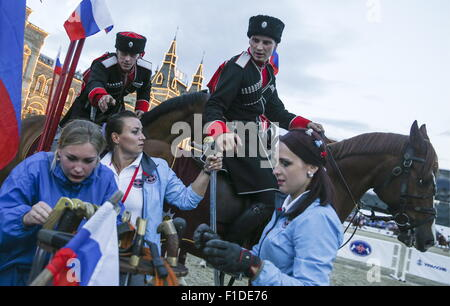 Moscow, Russia. 31st Aug, 2015. Members of the Kremlin Presidential Regiment and the Kremlin Equestrian School rehearse - Stock Photo