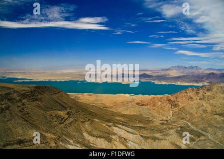 Lake Mead surrounded by rocks, Colorado River, Las Vegas, Nevada, USA - Stock Photo