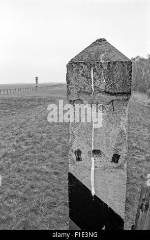 Open border between East and West Germany on the Baltic coast in Travemünde and Pötenitz, after the iron curtain - Stock Photo