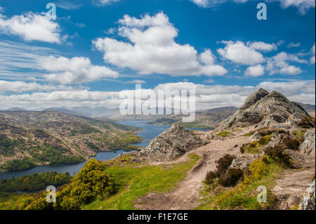 Looking down on Loch Katrine from the summit of Ben A'an in the Trossachs National Park in the Highlands of Scotland - Stock Photo