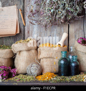 Healing herbs in hessian bags, bottles of tincture and paper sheet with  recipes on wooden wall background, herbal - Stock Photo