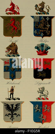 America heraldica - a compilation of coats of arms, crests and mottoes of prominent American families settled in - Stock Photo