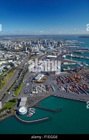 Judges Bay, Ports of Auckland, waterfront, Waitemata Harbour and CBD, Auckland, North Island, New Zealand - aerial - Stock Photo