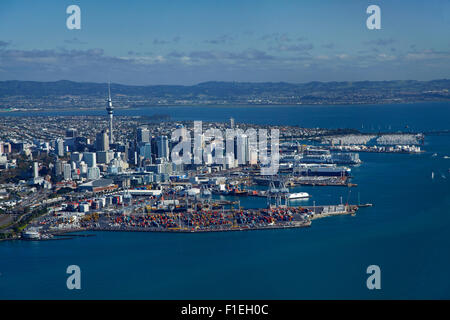 Ports of Auckland, waterfront, Waitemata Harbour and CBD, Auckland, North Island, New Zealand - aerial - Stock Photo