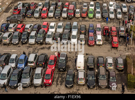 View from top of Cliffords Tower, York: cars parked in council car park - Stock Photo