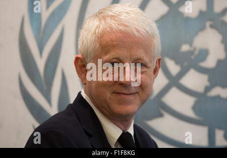 New York, USA. 31st Aug, 2015. Richard Curtis, Founder of the Project Everyone and Film Maker during his meeting - Stock Photo