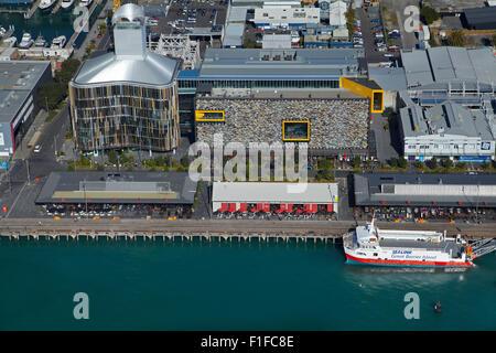Wynyard Quarter, Auckland waterfront, Auckland, North Island, New Zealand - aerial - Stock Photo