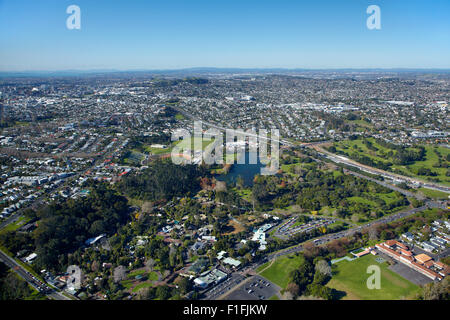 Auckland Zoo and Western Springs, Auckland, North Island, New Zealand - aerial - Stock Photo