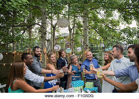 Friends family toasting bride groom backyard wedding reception - Stock Photo