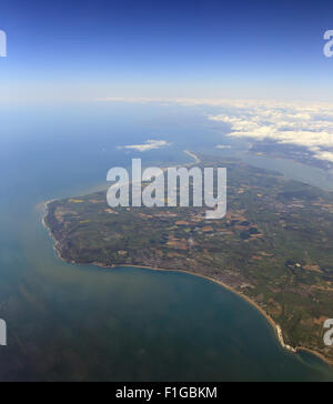 Aerial view over the southern half of the Isle of Wight from 35,000ft, with Shanklin and  Sandown, England, UK. - Stock Photo