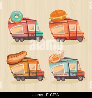 Street food van in retro style. Fast food delivery. Fast food trailers. Hot dog, ice-cream, donuts, burger shop - Stock Photo