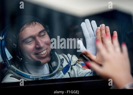 Baikonur, Kazakhstan. 2nd Sep, 2015. ISS Expedition 45/46 main crew member, Roscosmos cosmonaut Sergei Volkov seen - Stock Photo