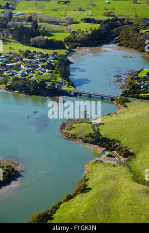 Drury Creek, Hingaia Bridge, and farmland, Karaka, Auckland, North Island, New Zealand - aerial - Stock Photo