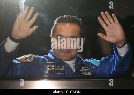 Baikonur, Kazakhstan. 2nd Sep, 2015. ISS Expedition 45/46 main crew member, Kazakh cosmonaut Aidyn Aimbetov seen - Stock Photo