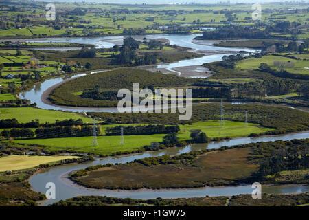 Drury Creek, near Drury, Auckland, North Island, New Zealand - aerial - Stock Photo